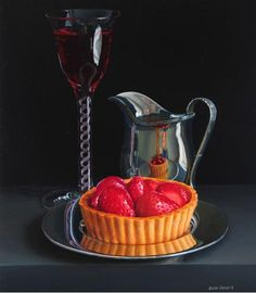 Jessica Brown. Still Life with Strawberry Tart and RoseWine