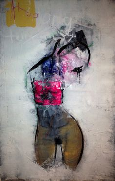 """Khara Oxier """"Too Long Temptress"""" 46"""" x 28"""" oil on canvas"""