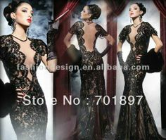 sexy black lace tango wedding dress   ... -black-lace-with-long-trail-sexy-Arabic-wedding-dress/745192690.html