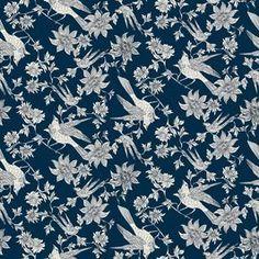 Indigo Retro Bird Flower Design by Josephine Walz Seamless Repeat Royalty-Free Stock Pattern