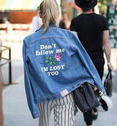 Browse the best street style looks from Men's Fashion Week Spring 2017 | slogan denim jacket