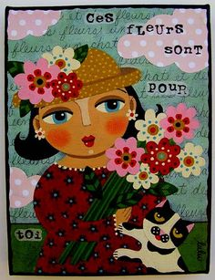 Spring Girl with Flowers and Cat painting by LuLu | Flickr - Photo Sharing!
