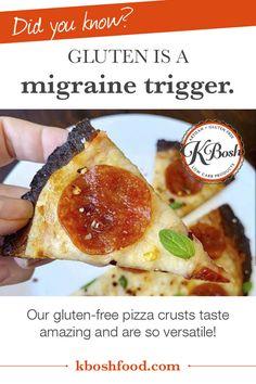Kbosh Low Carb Crusts: Pizza, Wraps & More- Deliciously Gluten Free! Gluten Free Crust, Gluten Free Pizza, Gluten Free Recipes, Celiac Symptoms, Celiac Disease, Most Popular Recipes, Food Website, Migraine, Healthy Tips