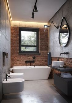 Home Decor For Small Spaces Miarodajny - wariant I.Home Decor For Small Spaces Miarodajny - wariant I Best Bathroom Designs, Bathroom Design Small, Modern Bathroom, Brick Bathroom, Bathroom Interior, Cute Home Decor, Cheap Home Decor, Sell My House, Home Remodeling