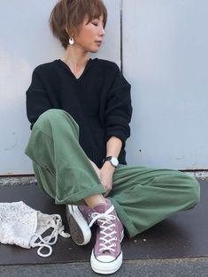 シンプル♡ 小豆色のスニーカーのカラーが絶妙♡♡♡ インスタ @kumika_iiio2