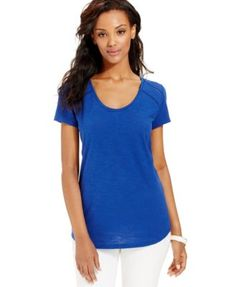 DKNY Jeans Lace-Trim Scoop-Neck Tee