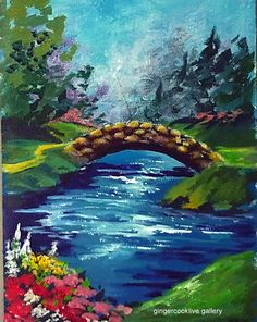 Stone Bridge and Stream: (R) Part of a golf series, this cheerful scene reminds on of Augusta in spring. #gingercooklive.gallery