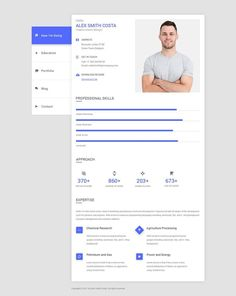 Material CV / Resume – unique and bright PSD template for creative people, freelancers, designers, personal blog, portfolio and photography related websites. It is more than enough to create a full portfolio PSD design included 06 well-organized, editable psd files. It is fully customizable, responsive & easy to use.#resume #resumeTemplate #creativeReume #ProfessionalCv #cleanResume #modernResume #resumeDesign Cv Design, Graphic Design Tips, Resume Design, Creative Cv, Creative People, Cv Simple, Modern Cv Template, Professional Cv, Modern Resume