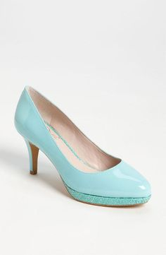 Baby blue patent leather pumps.