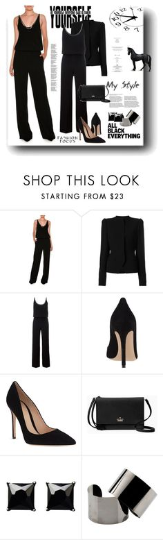 """Monochrome: All Black Everything"" by snezanamilunovic ❤ liked on Polyvore featuring STELLA McCARTNEY, Haider Ackermann, Gianvito Rossi, Kate Spade, Witchery, Maison Margiela, StyleNanda and allblack"