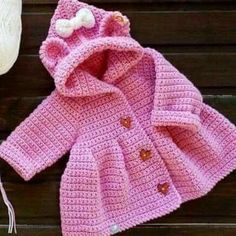 What do I have to do to print this pattern ? Crochet Baby Sweater Pattern, Crochet Baby Jacket, Baby Sweater Patterns, Crochet Coat, Crochet Baby Clothes, Baby Patterns, Baby Girl Crochet, Crochet For Kids, Crochet Children