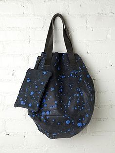 INK SAISEI SPLATTER TOTE, colour blue, suede, made in italy
