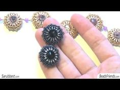 Rays beaded bezel crystals: a necklace and a pair of black earrings | Beaded Jewellery - YouTube