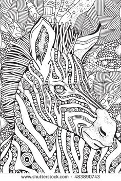 Coloring Book page for Adult and children. Zebra in zentangle style. Black and…