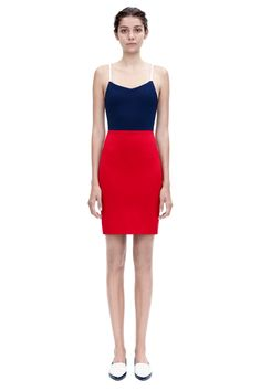 cami mini   A fitted, mini cami dress in navy and red dense-rib jersey with white leather straps, from the Pre Spring Summer 15 Ready-to-Wear collection