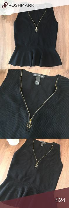 """INC Black Peplum Top Front Gold Zip V Neck Blouse INC International Concepts Gold Zipper V Neck Peplum Top - in great condition! This top is very trendy and feminine!!! You have to see it in person!   Size Medium - Black Approximate measurements: Width 17"""" Length 22""""  ✅All items in my closet are either NEW or in excellent condition - any signs of wear are minimal and will be detailed on pictures and description. ✅ Very clean and smoke free home.  ✅Make me an offer and shop bulk to save! INC…"""
