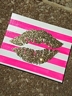 Gold lips on pink and white stripe canvas