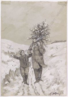 Going home with the Christmas tree. A drawing by well-known Austrian artist Maximilian (Max) Spilhaczek from about Enjoy original art works - a perfect present! For more details, see the description on our website . Winter Christmas, Christmas Tree, Christmas Ornaments, Going Home, Seasonal Decor, Original Art, Christmas Decorations, Presents, Seasons
