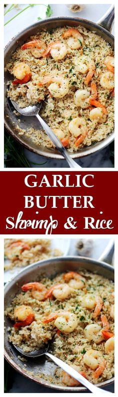 Butter Shrimp and Rice - Garlic Butter lends an amazing flavor to this speedy and incredibly delicious meal with Shrimp and Rice. Get the recipe on Shrimp And Rice Recipes, Shrimp Dishes, Fish Dishes, Seafood Recipes, New Recipes, Yummy Recipes, Cooking Recipes, Healthy Recipes, Recipies