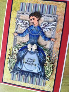 Artwork by Barbara Smith working with Character Constructions art stamps, Timekeeper's Garden collection.