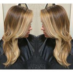 Face framing blonde balayage highlights. #StyledByKate   Instagram: @StyledByKate_