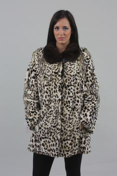 Animal Print Mink Fur Coat Mahogany Collar - SKANDINAVIK FUR Mink Fur, Fur Fashion, Fur Coat, Animal, Jackets, Down Jackets, Animals, Fur Coats, Fur Collar Coat