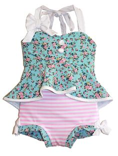 9bf69e345f SALE! Retro Hi-Lo Tankini & High Waisted Trunks in Vintage Floral: 2018  Collection (Size 12/18 month