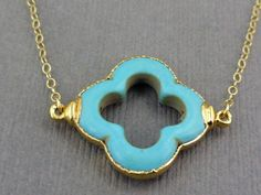 Turquoise Clover Necklace 24k gold edged on Gold Fill chain. $46.50, via Etsy.