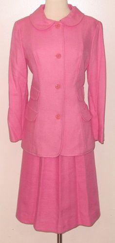 Retro c.1960s Sz.10 Tailored & Fitted 2pc Linen Blend DARK PINK Skirt Suit - WOW #Unbranded