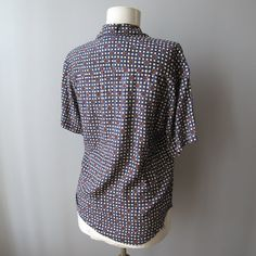 vintage rayon blouse  geometric print  short by OracleVintageShop, $25.00 Short Sleeve Button Up, Blue Blouse, Printed Shorts, I Shop, Men Casual, Sleeves, Mens Tops, Stuff To Buy, Vintage