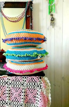 crochet pillows, crochet blanket