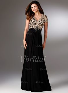 Sheath/Column V-neck Sweep Train Lace Beading Chiffon Zipper Up Sleeves Short Sleeves No Black Champagne Spring Summer Fall General Mother of the Bride Dress