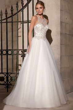 Fabulous Halter Neck Beaded Embroidery Floor Length Wedding Dress by mori-lee-style-2711