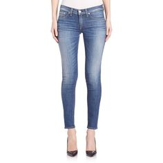 rag & bone/JEAN Mid-Rise Slim-Fit Capri Jeans ($205) ❤ liked on Polyvore featuring jeans, apparel & accessories, rae, zipper jeans, slim cut jeans, slim blue jeans, slim jeans et capri jeans