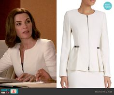 Alicia's white zip-front peplum jacket on The Good Wife.  Outfit Details: https://wornontv.net/54030/ #TheGoodWife