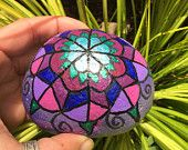Purple Mandala..another pretty example of a painted mandala rock for the garden or yard.You could make a magical spot with your own painted mandala rocks!!