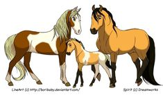 Free LineArt by When I first saw this lineart by Boribaby I had to color it. And the first thought that popped into my mind was Spirit with his family. Spirit and Family Spirit The Horse, Spirit And Rain, Most Beautiful Animals, Beautiful Horses, Beautiful Things, Animals Of The World, Animals And Pets, Horse Animation, Horse Movies