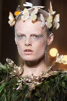 Runway Models - Haute Couture Fall 2012 - ELLE, Chasing Butterflies from Gianbattista Valli- iridescent glittered against netted face coverings