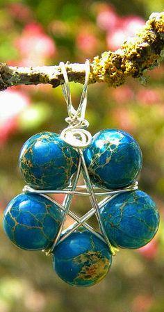Witches Pentacle Aqua Terra Jasper Gemstone Ritual Jewelry Magickal Adornment Pendant Brings Peace, Clarity, Compassion. Etsy Shop: MoonlitHerbals