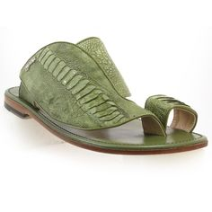 Mauri Men Green Ostrich Leg Sandal [MAURI1951] - $450.00 : MAURI shoes for Men and Women at Cellini Uomo, Exotic Skin Shoes Superstore - Alligator, Crocodile, Ostrich