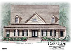 Garrell Associates, Inc. Palmetto House Plan # 98236, Front Elevation, Southern Style House Plans, Farmhouse Style House Plans (2,828 s.f.) Design by Michael W. Garrell