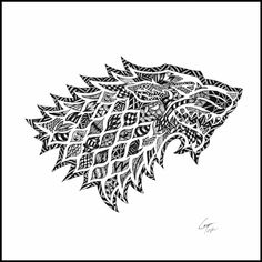 House Stark Sigil.  The wolf. Game of Thrones Zentangle and more. By Telfer Zentangle.