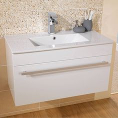 Odessa White Wall Hung 800 Drawer Unit & Basin - Short Projection - VictoriaPlum.com