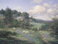 This is another romantic painting by Larry Dyke. THE GATE shows the sheep in the pasture as the bluebonnets are in full bloom. This print is available in an unframed image size of Mountain Landscape, Landscape Art, Landscape Paintings, Landscapes, Nature Paintings, Building Painting, House Painting, Romantic Paintings, Detailed Paintings