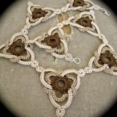 Jewelry Making Pearls Tatted Lace Choker Necklace Celtic Triangle Sepia by TotusMel. Jewelry Making Pearls Tatted Lace Choker Necklace Celtic Triangle Sepia by TotusMel Filet Crochet, Crochet Motif, Crochet Lace, Crochet Stitches, Doilies Crochet, Tatting Patterns Free, Celtic Patterns, Doily Patterns, Dress Patterns