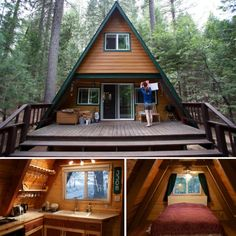 An A-frame house is simple, some what conservatory actually still it's also unforgettable and intriguing. Also, you can customize it and arrive up with your version for your dream house. A Frame Cabin, A Frame House, Tiny House Cabin, Cabin Homes, Style At Home, Shed Plans, House Plans, Prefabricated Houses, Building A Shed