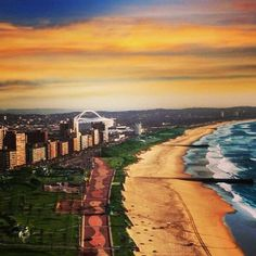 Durban in all its glory - the Golden Mile and the Moses Mabhida Stadium