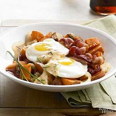 Chipotle peppers in adobo sauce spice up a hollandaise sauce mix that's spooned over sweet potato hash and poached eggs for this enticing breakfast entree recipe./