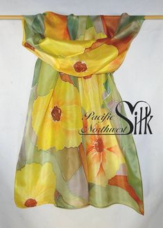 Handpainted Silk Scarf with Sunny Yellow Flowers by PacificNorthwestSilk
