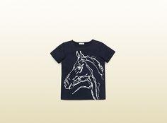 kid's horse print cotton t-shirt